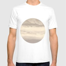 Abstract Pink Clouds Mens Fitted Tee White MEDIUM