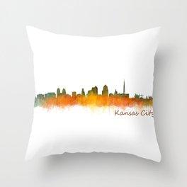 Kansas City Skyline Hq v2 Throw Pillow