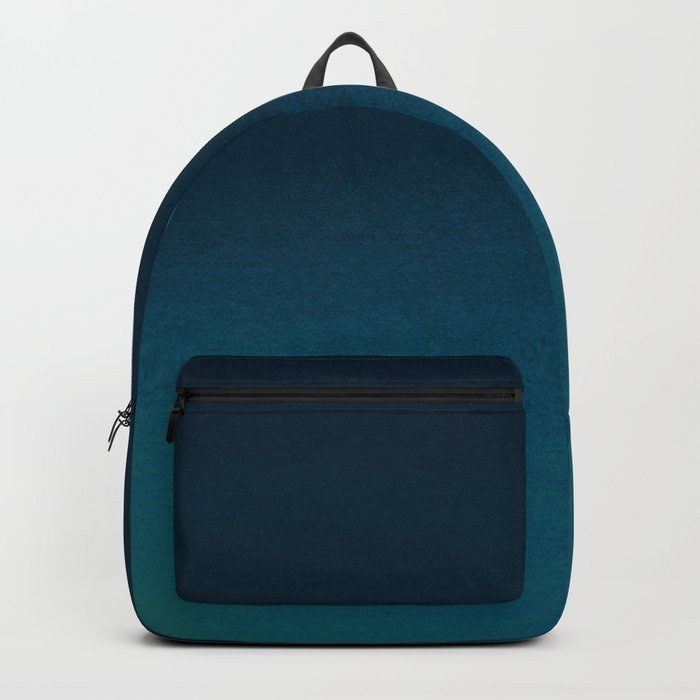 Navy blue teal hand painted watercolor paint ombre Rucksack