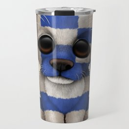 Cute Puppy Dog with flag of Greece Travel Mug