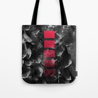 decal Tote Bags featuring black ocean by LEEMO
