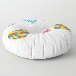 lollipops, colorful spiral candy cane with twisted design Floor Pillow