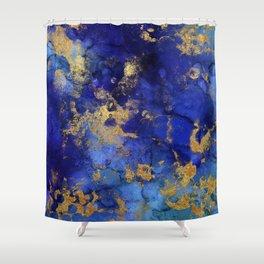 Gold And Blue Indigo Malachite Marble Shower Curtain