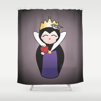 evil queen Shower Curtains featuring Evil Queen kokeshi by Pendientera