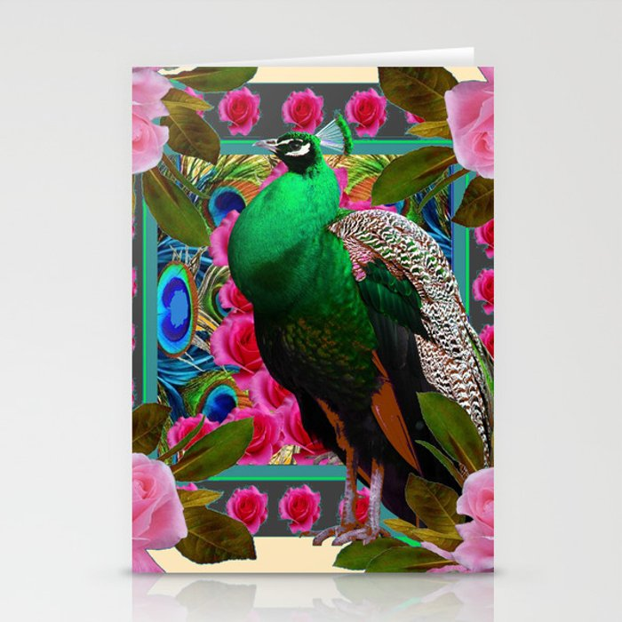 GREEN PEACOCK & PINK ROSE  FLOWERS CREAM ART Stationery Cards