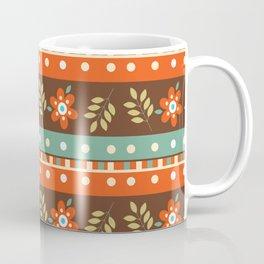 Orange green white autumn geometrical stripes floral Coffee Mug