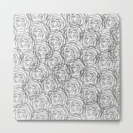 Busy Flowers Monochromatic Floral Woodcut Pattern in Black and White Metal Print