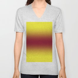 Electric Yellow to Burgundy Red Bilinear Gradient Unisex V-Neck