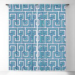 Greek Key - Turquoise Blackout Curtain