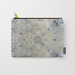 Mandala Flower, Blue and Gold, Floral Prints Carry-All Pouch