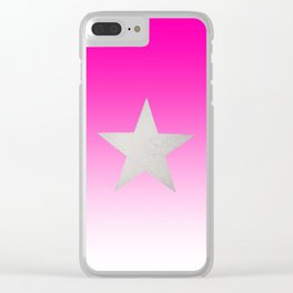 Star  Glitter effect  Pink  White Clear iPhone Case