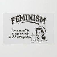 feminism Area & Throw Rugs featuring Feminism - Equality to Supremacy by Anti Liberal Art