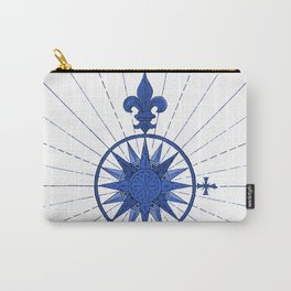 Nautical French Blue Compass Rose Carry-All Pouch