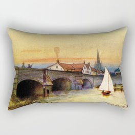 Vintage watercolour Norwich Bishop bridge Rectangular Pillow