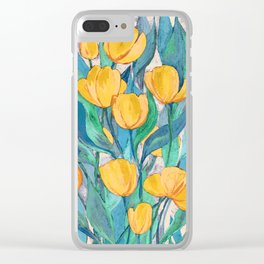 Blooming Golden Tulips in Gouache Clear iPhone Case