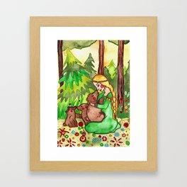 Mielikki and the bears Framed Art Print