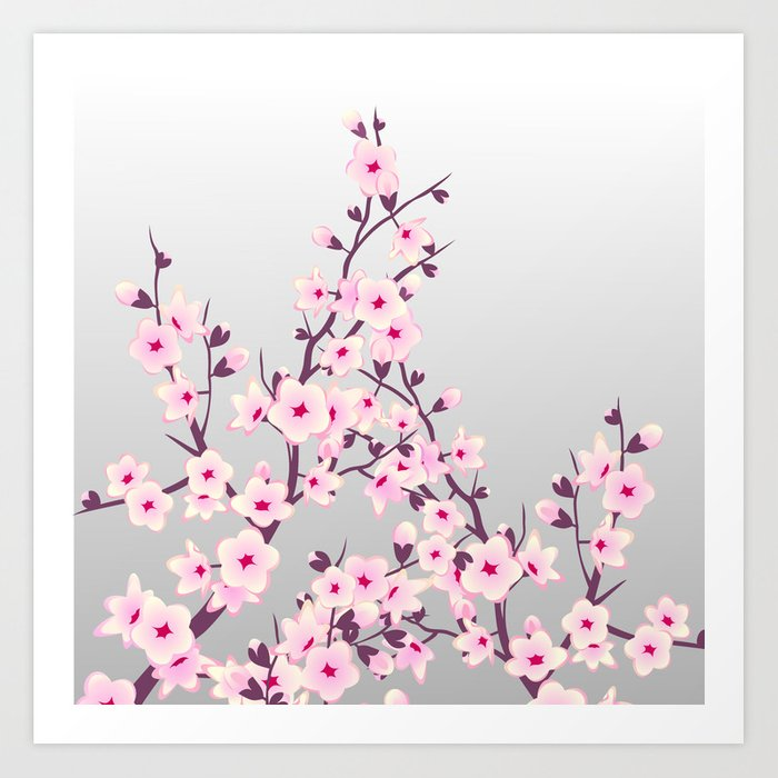 Cherry Blossoms Pink Gray Art Print