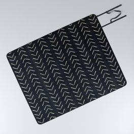 Mudcloth Big Arrows in Black and White Picnic Blanket