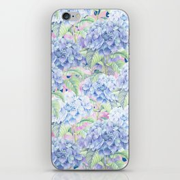 Botanical pink lavender watercolor hortensia floral iPhone Skin