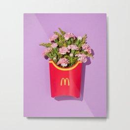 French Fries Flowers Metal Print