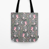 dress Tote Bags featuring Monochrome Dress by Carly Watts