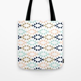 Aztec - Geometric tribal pattern in navy, gold glitter, pink, and blush Tote Bag