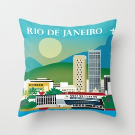Rio de Janeiro, Brazil - Skyline Illustration by Loose Petals Throw Pillow