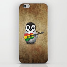 Baby Penguin Playing Bolivian Flag Acoustic Guitar iPhone Skin