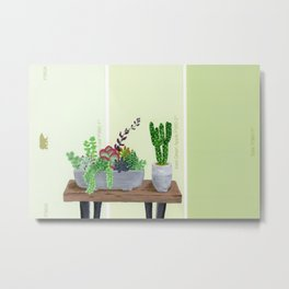Cacti and Succulents on Greens Metal Print