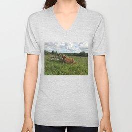 Fluffy Highland Cattle Calf 1280 Unisex V-Neck