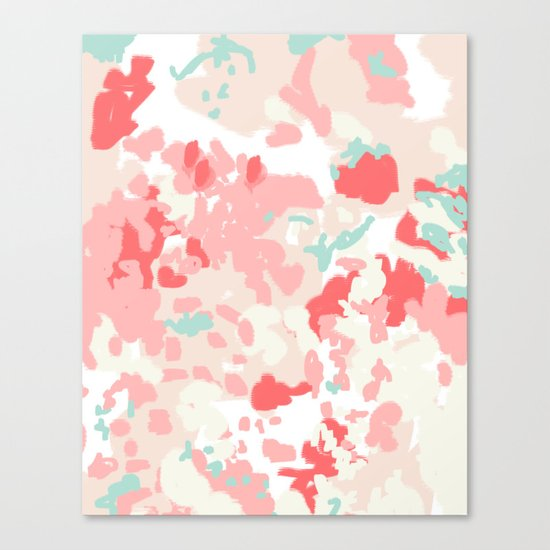 Kelsie - cute abstract minimal pink blush painterly dorm college office trendy decor Canvas Print