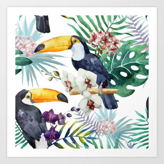 Tropical Bird Pattern 04 Art Print