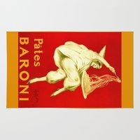 pasta Area & Throw Rugs featuring Pasta Baroni Leonetto Cappiello by aapshop