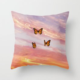 Butterfly Sunset Aesthetic Throw Pillow