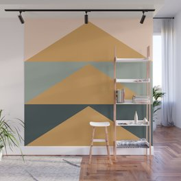 Triangles in Blush, Gray, and Honey Wall Mural