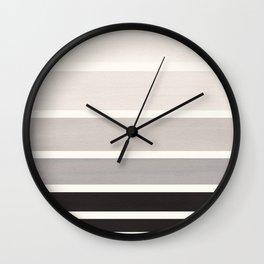Grey Mid Century Modern Minimalist Circle Round Photo Staggered Sunset Geometric Stripe Design Wall Clock