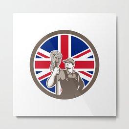 British Industrial Cleaner Union Jack Flag Icon Metal Print