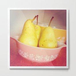 Pears in Pyrex Metal Print