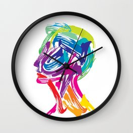 Rainbow abstract portrait Wall Clock