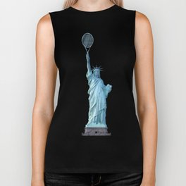 Statue of Liberty with Tennis Racquet Biker Tank
