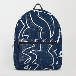 Vintaged/Distressed Cowboy Boot Stitch Pattern in Blue Backpack