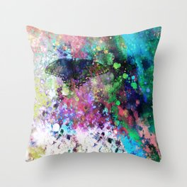 Butterfly abstract art by Ann Powell Throw Pillow