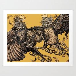 Two Kings - Roosters Art Print