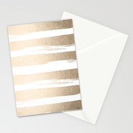 White Gold Sands Painted Thick Stripes Stationery Cards