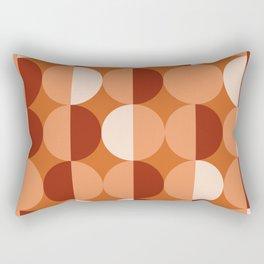 Retro circles grid orange Rectangular Pillow