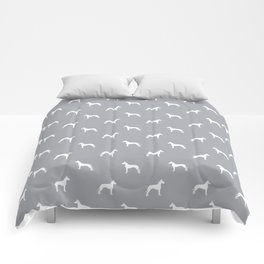 Great Dane dog breed pattern minimal simple grey and white great danes silhouette Comforters