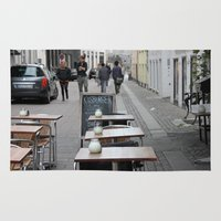 copenhagen Area & Throw Rugs featuring Copenhagen street cafe by RMK Photography