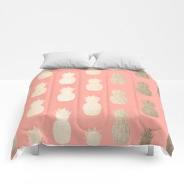 Gold Pineapples on Coral Pink Comforters