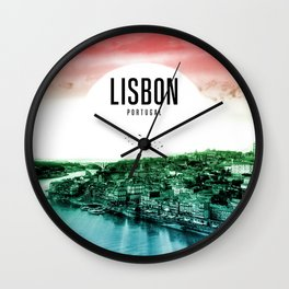 Lisbon Wallpaper Wall Clock