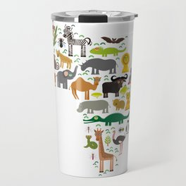 map of Africa: parrot Hyena Rhinoceros Zebra Hippopotamus Crocodile Turtle Elephant Mamba snake Travel Mug